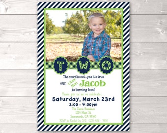 Two Year Old Birthday Invitation, Second Birthday Invitation, Boy Birthday Invitation, Birthday Invite, Boy Invitation