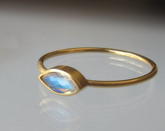 Moonstone 14k Gold Faceted Marquise Ring - Gold Stack Ring- Yellow, White or Rose Gold