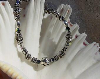 Bali Sterling Silver Bracelet, Polished Sterling Silver Bracelet, and Swarovski Crystal Beaded Bracelets