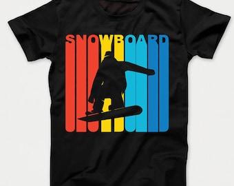 Retro 1970's Style Snowboarder Silhouette Snowboarding Kids T-Shirt