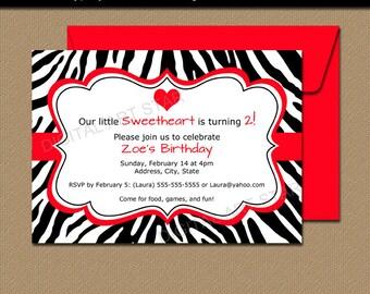 Zebra Party Invitations - Valentine Zebra Invitation Template - Printable February Birthday Invitations - Girl Birthday Invitation Download