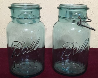 Vintage Ball Ideal Quart Mason Blue Jars 2 1923-1933