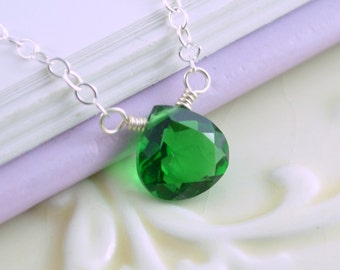 Emerald Green Necklace, Quartz Gemstone, May Birthstone Jewelry, Sterling Silver, Necklace for Girls Teens or Women