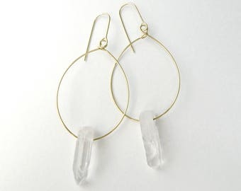 Crystal clear quartz earrings, Quartz earrings, Gemstone earrings, Quartz hoop earrings, Quartz drop earrings, gold hoop earrings