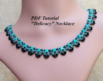"Necklace Pattern, DIY Necklace, Kheops Beads Pattern, Beading Instructions, Beaded Tutorial, Beadweaving Necklace, ""Delicacy"" Necklace"