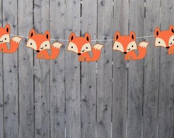Fox Garland, Fox Banner, Woodland Banner, Woodland Garland, Nursery Decoration, Baby Shower, Photo Prop (11517229A)