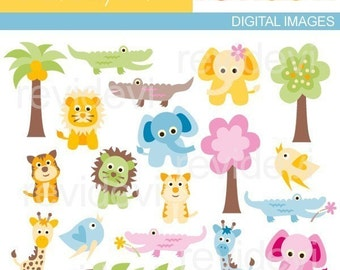 Cute wild animals clipart pastel colors - Jungle animals clip art - Sweet Baby Safari - Commercial Use / elephant, alligator, giraffe, lion