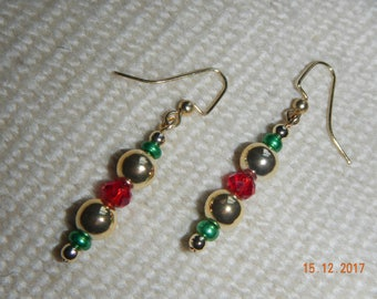 Festive Green/Red/Gold Holiday Gold-tone Dangle Earrings