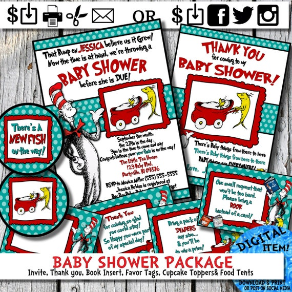 Dr. Seuss Baby Shower Invitation and Thank You Card