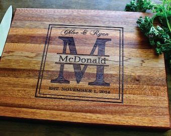 Custom Cutting Board, Wood Cutting Board, Personalized Cutting Board, Anniversary Gift, Wedding Gift, Engagement Gift, Mothers Day Gift