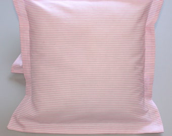 Pair striped white and pink cotton bed pillowcases 16x16 inches