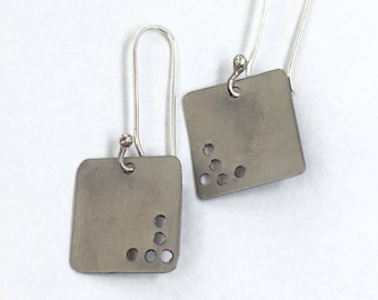 Titanium earrings, titanium ear wires, metal jewelry, sterling silver, square earrings, dangle earrings, gift for her, made in Santa Fe
