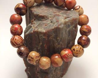 Patterned Wood Bead Stretch Bracelet
