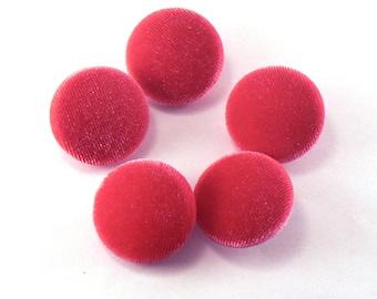 "5 - 1"" Dark Pink Velvet Fabric Buttons - Fabric Covered Shank Buttons - Handmade Fabric Buttons - 25 mm Sewing Buttons #FBV-09-01"