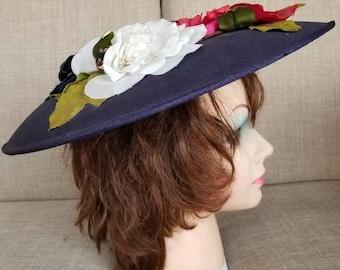 Vintage Women's Blue Floral Broad Brimmed Hat