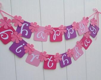 Happy Birthday Banner BIRTHDAY BANNER - Party Banner Flower Theme Birthday Banner