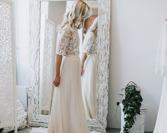 Wedding Lace Top, Bridal Separates, Bridal Lace Top, Wedding Top, Lace Crop Top , Ivory Champagne  Lace Top for Bride - ASTRID