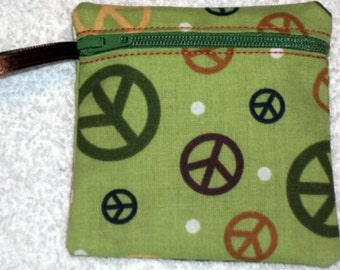 Handmade - Peace sign zippered pouch  -  fabric Gift Card Holder