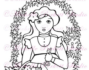 Digital stamp Image Secret Garden Flowers Mary Gate Ivy Keyhole stamping scrapbooking cardmaking