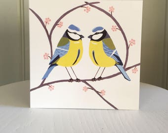 Two Blue Tits, Birds Card, Any Occasion Card