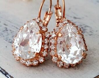 Rose gold clear crystal drop earrings, Rose gold Drop earrings, Bridal earrings, Bridesmaid gift, Dangle earrings, Gold or silver
