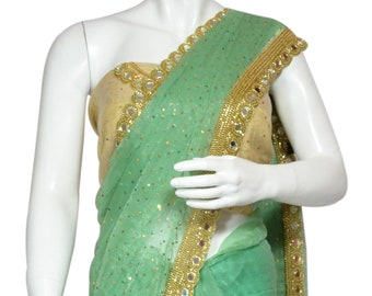 Mint Green Shimmer Chiffon Saree with Golden Mirror and Sequins work with matching Blouse