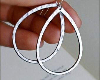 Hoop Earrings-Sterling Silver Hammered Teardrop Hoop Earrings