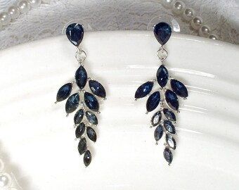 Art Deco Sapphire Rhinestone Earrings, Navy Blue Crystal Leaf Bridal Chandelier Earrings, Silver Flapper Dangle Vintage Wedding Jewelry