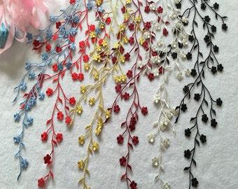 Embroidery Plum flower Venice Lace Appliques Wedding Decor Bridal Headwear Alencon Lace Patch 1 pcs YL195