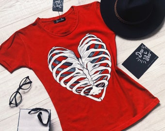 red t-shirt with heart  for Valentines Day