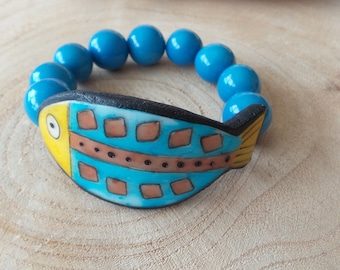 Bracelet elastic blue and yellow fish