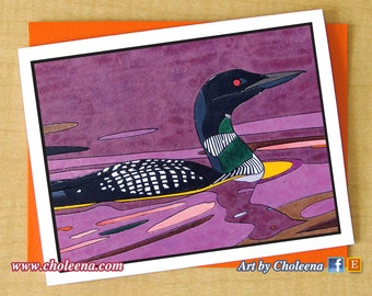 Loon Mosaic Card- Greeting Card- Small Rectangular Card- Any Occasion- Blank Card- Bird Card- Purple sunset loon Card- purple water Card