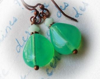Little seafoam green drop earrings small in copper and glass bead dangle earrings sea foam ocean aqua beach mint petite tiny for women girls