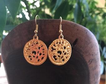 Vintage Gold Filigree Earrings gold plated dangle earrings 90s fashion earrings earrings earrings filigree