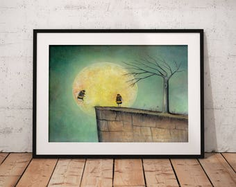 Bumble Bee and Moon Art Print - Wildlife Wall Art - Home and Nursery Decor - Gift Idea - Insect Artwork
