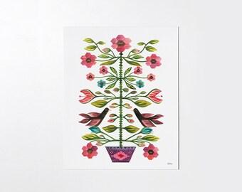 Romanian folk tapestry - 8x10 art print