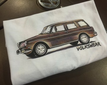 Volkswagen Squareback Type 3 Full front print on a 100% cotton preshrunk Tee. White shirt, Full Color print.