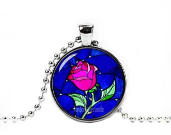 Enchanted Rose Necklace Beauty and the Beast Pendant Belle and the Beast Necklace