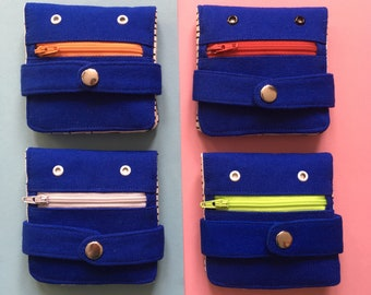 Hug Monster Wallet,  Cotton canvas Coin Purse, Screen print Bi-fold Wallet, Handmade, Royal Blue