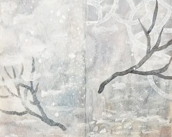 Index of Days no. 6 / Winter Trees and Falling Snow / Mixed Media Drawing on Paper / White on White