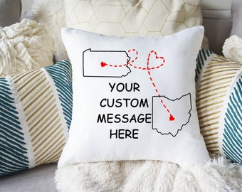 Best Friend Pillow Case - Long Distance Friendship Pillow Cover - Best Friend Gift - United States Pillow Case- State to state - BFF Gift
