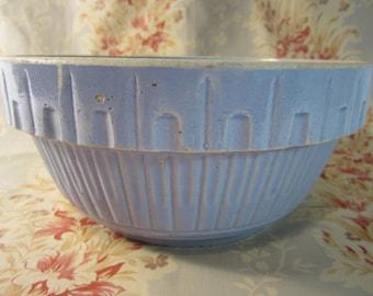 Vintage 1930's Large Art Deco Periwinkle Colored Stoneware Bowl