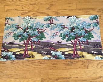 Vintage Barkcloth fabric piece with tree pattern.