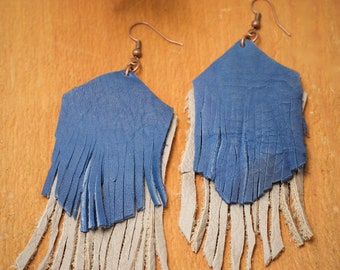 Grey and Blue Leather Fringe Earrings