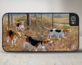 """Beagle iPhone   Case, Beagle Phone Case, Beagle Hunting Dog Phone Case, iPhone Protective Case """"Eager Beagles""""  50-5352"""