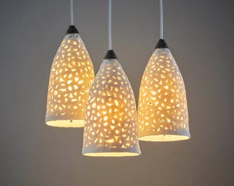 Lighting design and ceramics by rachel by rachelnadlerceramics 3 porcelain pendant lights chandelier lighting ceiling lights hanging lamps kitchen lighting ceramic pendant lights aloadofball Image collections