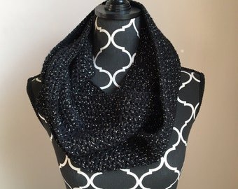 Black with silver sparkle infinity scarf