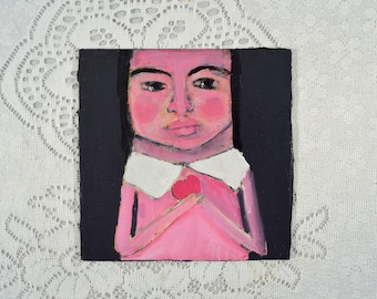 Art on Sale. Acrylic Portrait Painting. Mixed Media Art. Small Painting. Valentine's Day Heart Art. Romantic Gift for Her