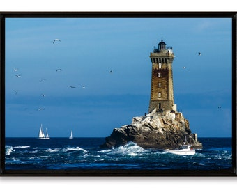 The lighthouse of old, fine art on Alu Dibond laminated and mounted in a crate American