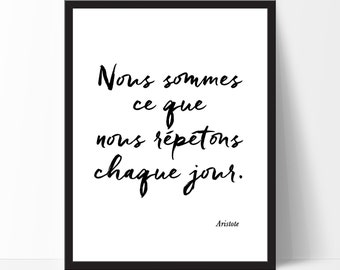 Citation Inspirante, Cadre, French Quote, French Print, French Wall Art, Inspirational Art, Motivational Print, Black White Print